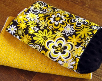 Baby Girl Burp Cloths Set: Bees, Flowers, Black Minky, White Minky, Yellow, Contoured, Handmade Bright Burpcloths