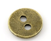 "10 Antique Bronze Metal Button - 2 Holes - 11mm (3/8"") - Sewing Metal Buttons"