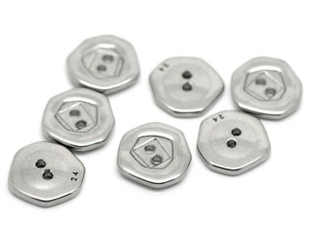 5 Stainless Steel Buttons - 15mm - 2 Hole - Silver Tone - Metal Button