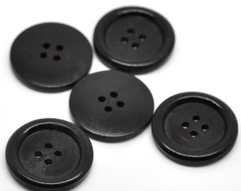 "10 Black Wooden Buttons - 30mm (Approx. 1 1/8"" inch)  - Rim - 4 Hole - Wood Button  (B19500)"