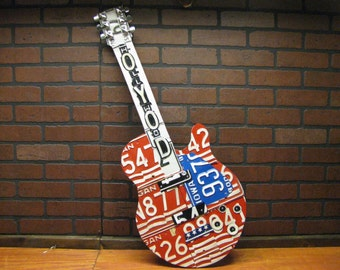 License plate guitars - custom made to order- made from real vintage license plates- license plate art -one of a kind