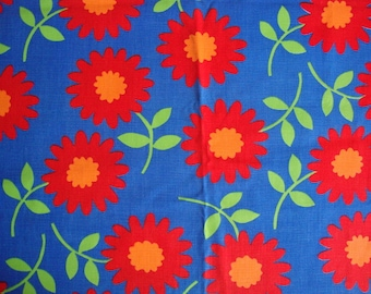 Vintage 60s Flame Red Daisy Flower Fabric Super Mod Bright Blue Tangerine Orange Large Scale Floral Print Bottom Weight Cotton Canvas CBF