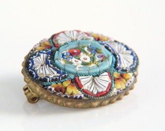 Micro Mosaic Flower Brooch - Floral Mosaic Pin in Red Blue Orange and White - Made in Italy