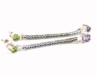 Silver Earrings - Sterling Silver Amethyst and Peridot Post Back Earrings - Vintage Long Earrings
