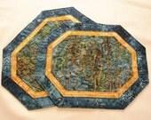 Quilted Snackmat Mug Rug Navy Landscape Batik 180