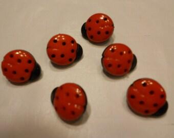 6 ladybug  buttons, 16 x 14 mm (10)