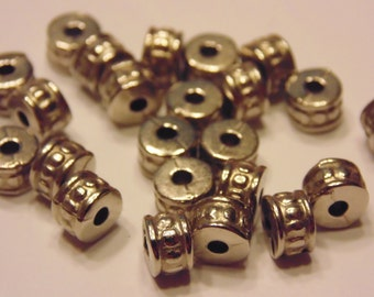 50 silver plated spacer beads, 4 x 6 mm (5)