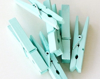 Clothespins Painted in Blue - Set of Eight