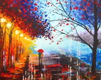 Original Abstract Original Painting -Walk in the rain - Acrylic Contemporary Art - A Couple With umbrella - Abstract Landscape