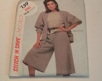 Vintage McCalls Pattern Stitch n Save 9191 Miss Jacket Culottes