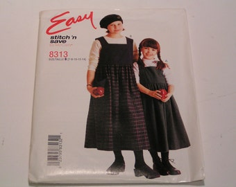McCalls stitch n save Pattern 8313 Child and Girl Jumper