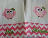 Chevron Pink Owl Burp Cloths Monogrammed FREE