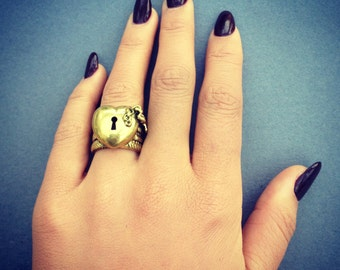 Brass Gold Lock and Key to my Heart Ring