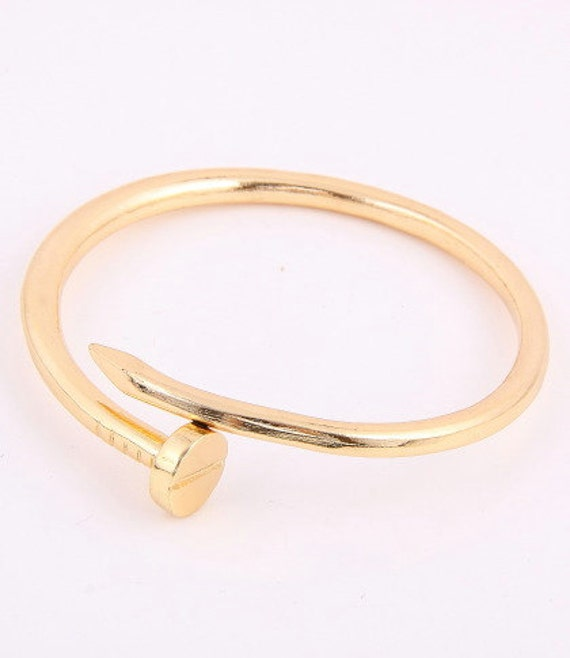 cartier inspired twisted nail yellow gold color bangle cuff