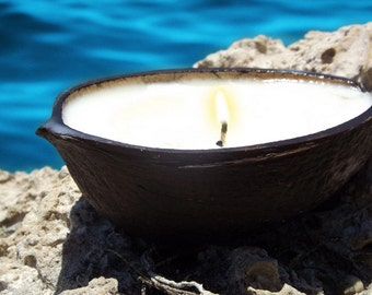 Coconut Scented Eco-Soy Candles in a Coconut Shells, 2 Candles
