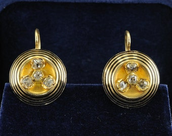 Original Victorian 1.50 Ct old diamond earrings