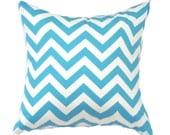 "Blue Pillow Cover- Blue Zigzag Pillow- Blue Chevron Pillow-Light Blue and White Pillow-.16"",17"",18"",20"" 24"" 26"", Lumbar Pillow or Euro Sham"