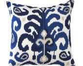 "Blue Pillow Cover- Ikat Pillow Cover- Blue Ikat Pillow  - Modern Pillow Cover.16"",17"",18"",20""Lumbar Pillow or Euro Sham"