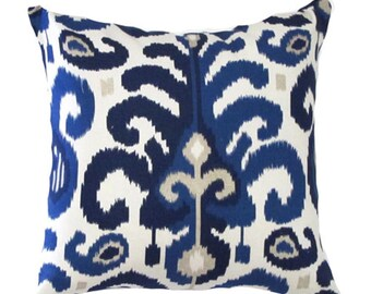 "Designer Decorative Pillow Cover-Blue Ikat. Pillow Sizes -10"",12"",14""16""18""20""22""24""26"" Square,Lumbar or Euro Sham ( SAME FABRIC Both Sides)"