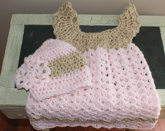 Pink Baby Dress and Hat, Baby Clothes, Girl Clothing Set, Child frock, Crochet Baby Dress, Christening Gown, Baby Dress, Pink Dress
