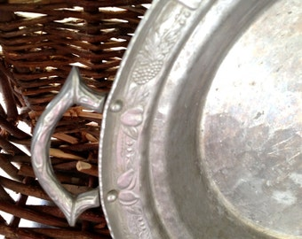 Vintage Aluminum Platter With Handles- Hand Wrought- Fruit Design- Holiday Serving- Christmas in July