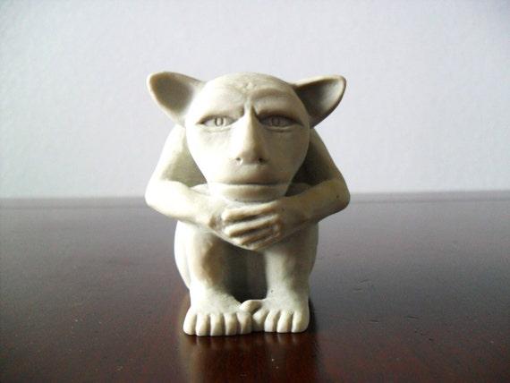 Vintage Miniature Gargoyle Clay Sculpture Medieval Statue