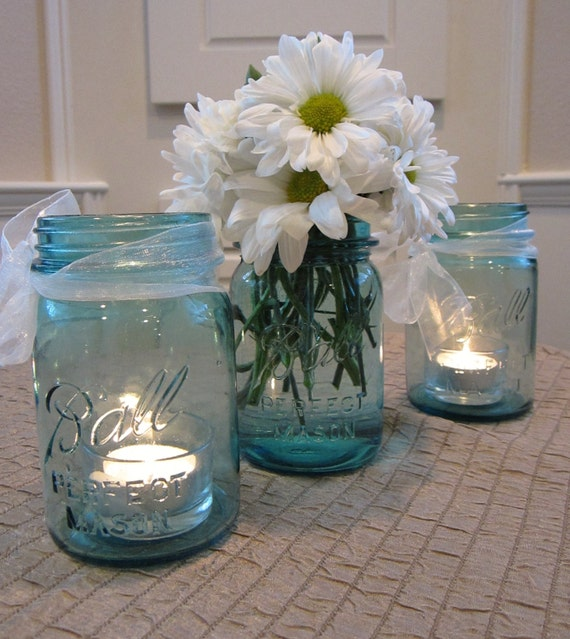 SALE Set of 3 Blue Ball Perfect  Mason Pint Jars,  Vase, Candle Holder,  Glass Jars  984,1753