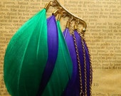 """1 Earcuff violet and emerald feathers goose and golden spikes """"Tadi"""""""