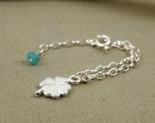Baptism bracelet , baby bracelet gift , newborn jewelry , christening gift , sterling four leaf clover bracelet