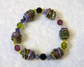 Shades of Purple and Green Swirled Art Lampwork Glass Bead and Crystal Stretch Bracelet