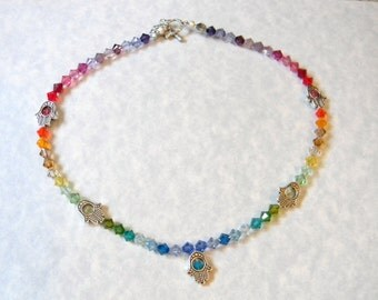Multicolor Rainbow Hamsa Bead Frame Necklace with Hamsa Toggle