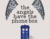 Doctor Who 'The Angels Have The Phone Box' quote cross stitch sampler PDF pattern