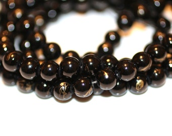 80pc Loose Beads Black and Gold/ Basketball wives / Necklace beads/Glass Beads/Bracelet Beads/8mm