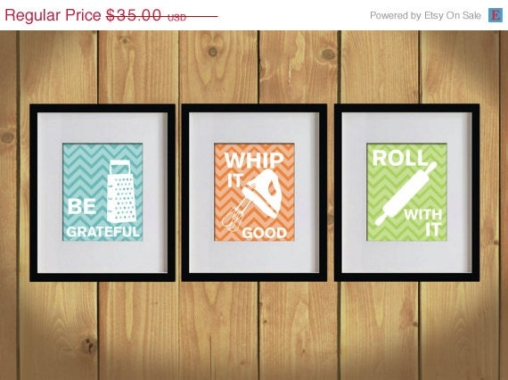 ON SALE Kitchen Art Print - Chevron, Baking Utensils, Zigzag Stripes - Set of 3 - 8X10 - White, Bondi Blue, Orange, Apple Green - No. KB008
