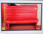 Photo Card,  red bench, downtown Santa Fe