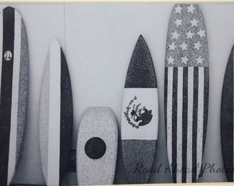 5 x 7 matted photo, surfboards, black and white,