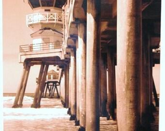8x10 Huntington Beach Pier: sepia, California, ocean