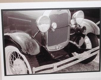 photo card, black and white, photography, classic car