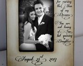 Hand Stained You are not losing a son but gaining a daughter. Mother of the Groom GIft Wedding 5x7 Picture Frame Keepsake Custom Personalize