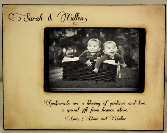 Rustic Vintage Godparents Godfather Godmother Gift Personalized Picture Frame 4x6 Religious Keepsake w/diamond accent