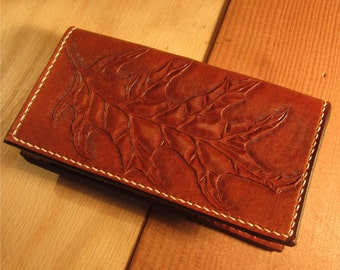 Leather Checkbook Cover, hand tooled with oak leaf