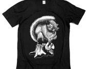 Squirrel Tshirt - Play Saxophone on Stump - Screen print - Unisex sizes