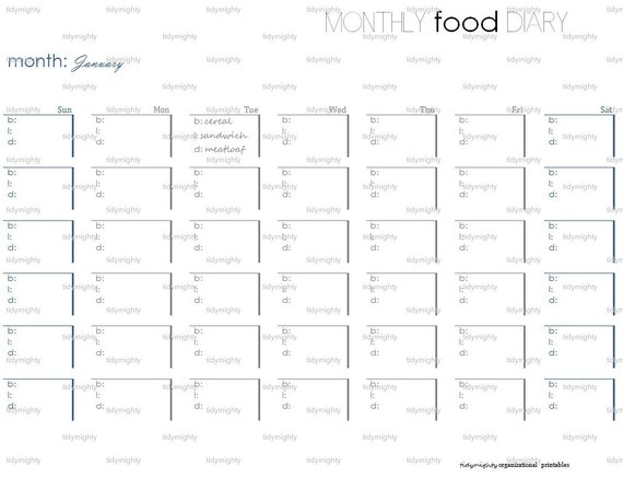 Monthly Food Diary Tracker Printable Pdf Instant By