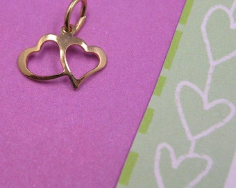 Gold Double Heart Valentine Sweetheart charm