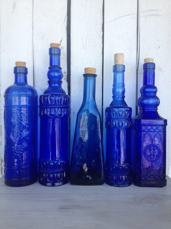 Vintage cobalt blue glass bottles blue supply bottles blue for Retro glass bottles