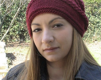 Hand Knit Women Beanie, Chunky Winter Hat. Burgundy Wool Beanie, Hat, Beret, Slouchy, Woman, Teen Ribbed Hat, Women Accessories For Her