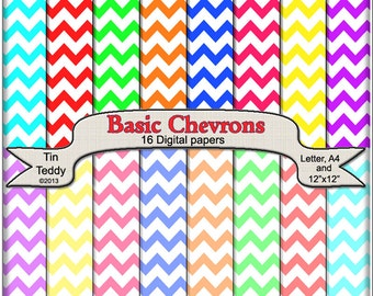 Basic Chevron Digital Papers - Printable Backgrounds for your Scrapbook, Card making & Other Crafts Instant Download