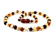 Baltic Amber Baby Teething Child Necklace Multi Color Round Beads