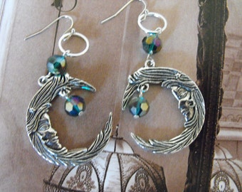 HANDMADE Crescent Moon Earrings Dangling Swavorski Crytals, Color choices