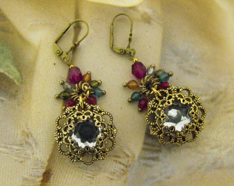 DANGLE Earrings, Exotic Statement Swavorski Crystal Glass Vintage Style Victorian